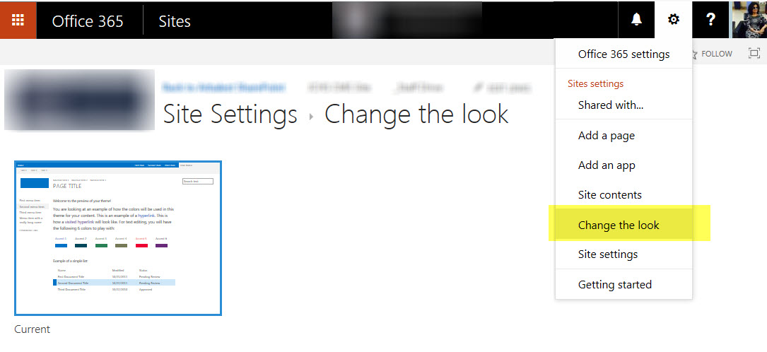 Office 365-SharePoint site based on custom template \u2013 \u0027Change the