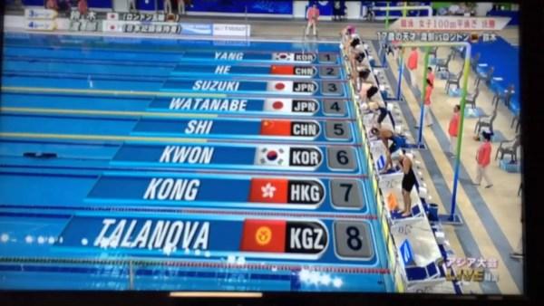 2014アジア大会女子100m平泳ぎ
