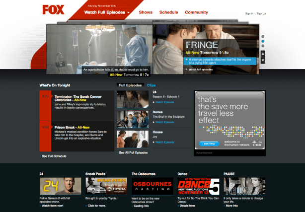Fox.com Homepage Iteration