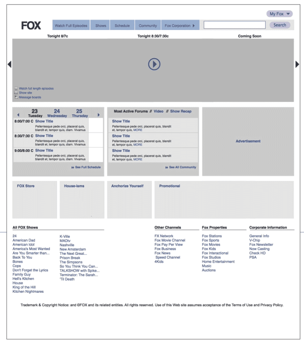 Fox.com Homepage Redesign Wireframe