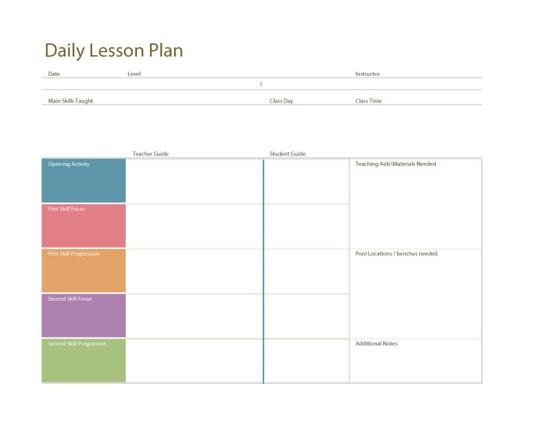 Swim Lesson Plan \u2013 General Template Swimming Lessons Ideas - daily lesson plan template