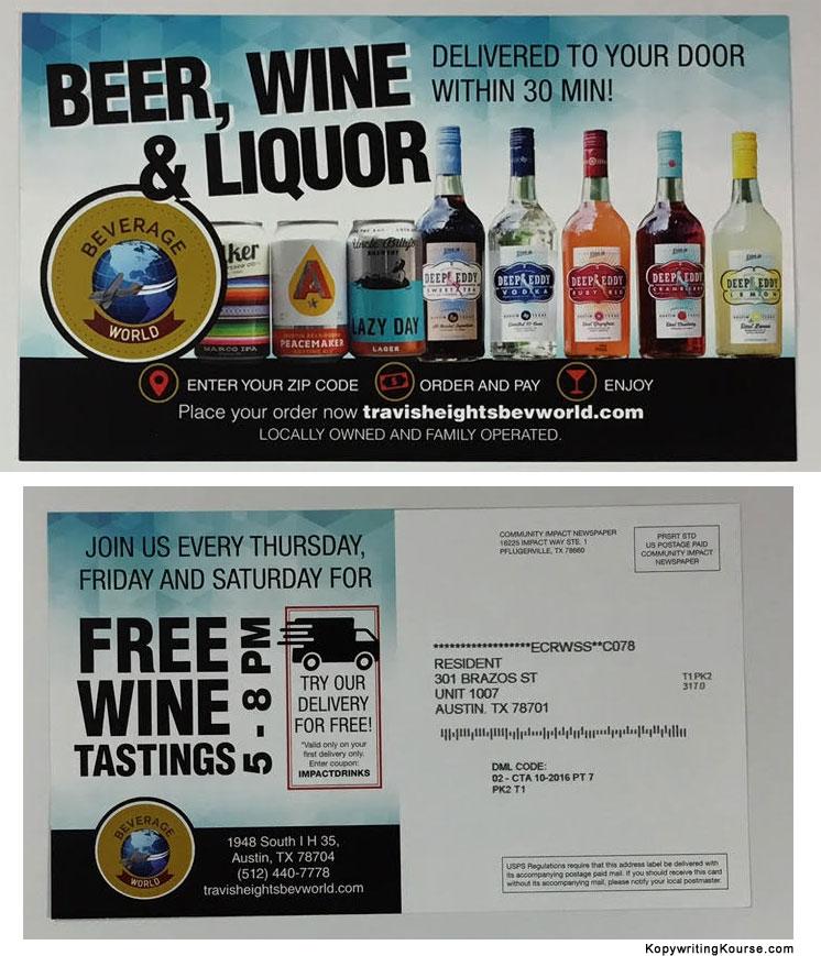 Swipe File Liquor Delivery Mail Flyer - Swipe File