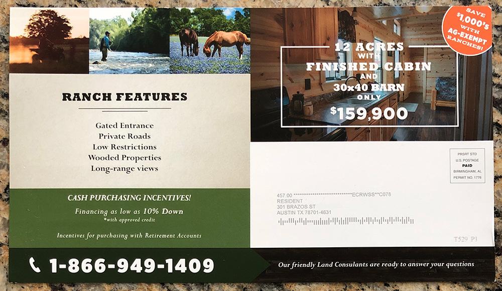 Swipe File Ranch Sale Direct Mail Flyer - Swipe File