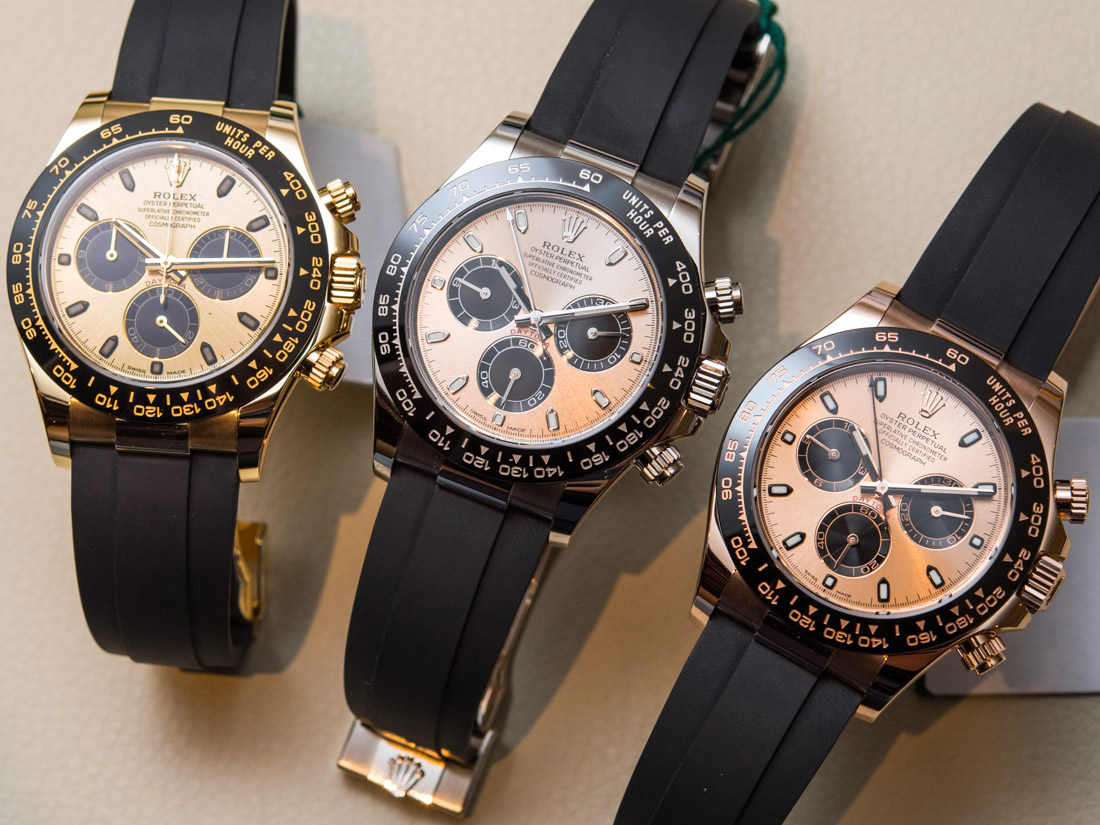 Rolex Rubber Luxury Rolex Cosmograph Daytona Watches In Gold With Oysterflex