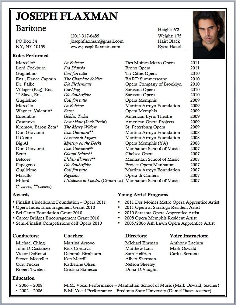 opera singer resume examples - Singer Resume Sample