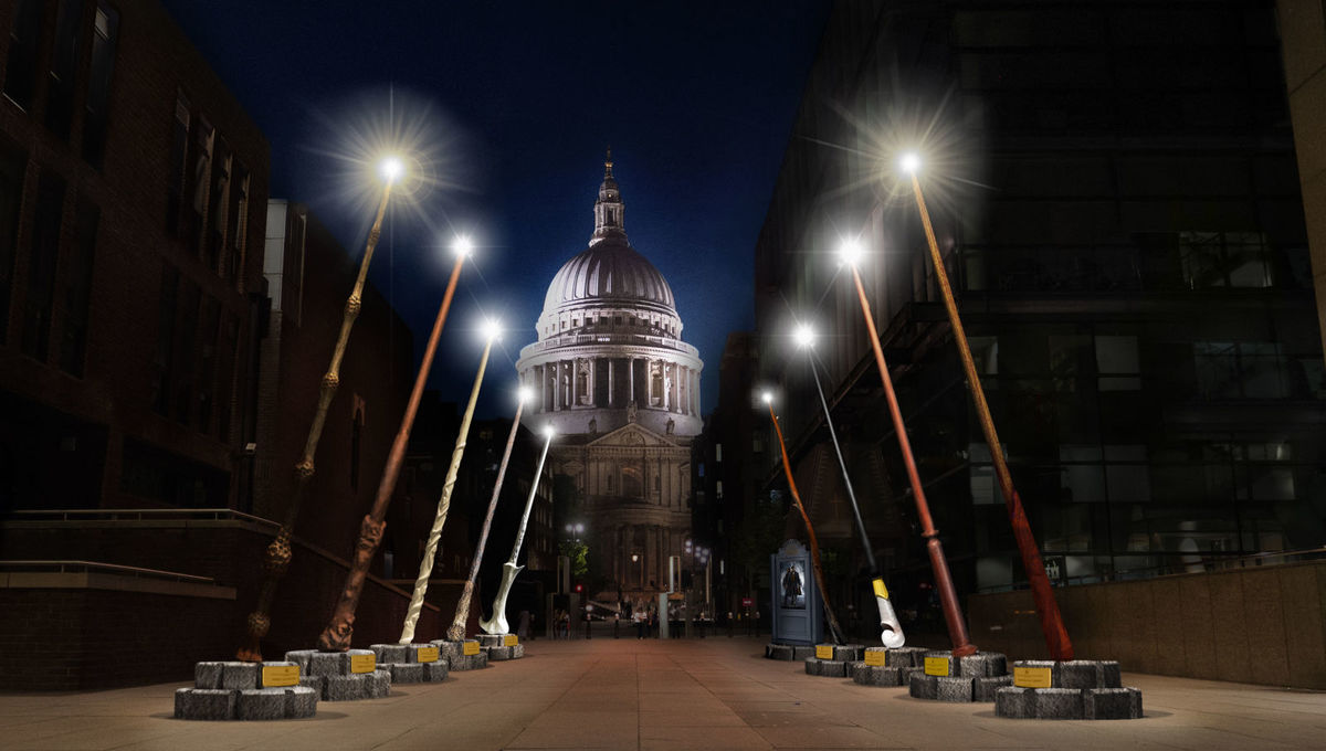 Tv Changing Wand Giant Harry Potter Wand Installation Sheds Light On London Charity