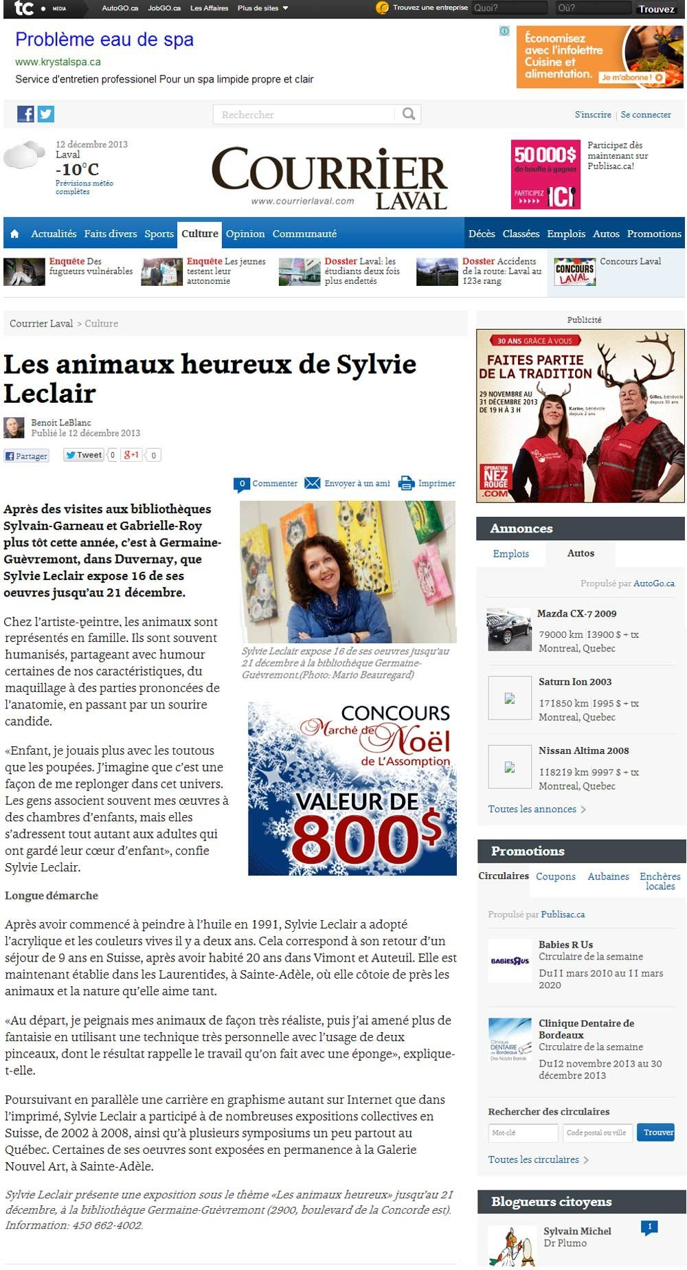 Courriel Laval Presse Parutions Sylvie Leclair Art Naïf Animalier