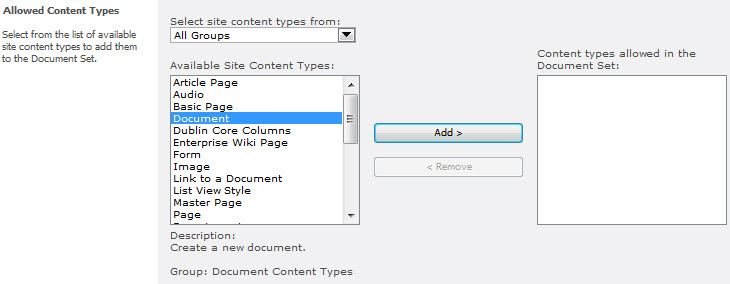 Removing the Default Document Content Type from the Allowed Content