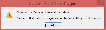 Minor version limit exceeded