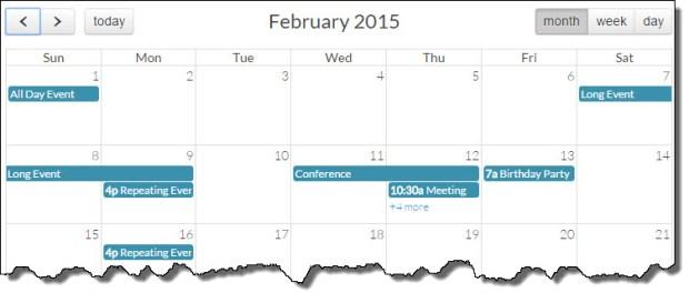 fullcalendar month view javascript