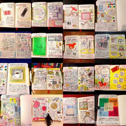 モレスキンのデイリーダイアリーに続けているモレスキン絵日記。2月も毎日描きました。文房具やアートによっていろいろな人たちと会話するのが、とても楽しいですね。