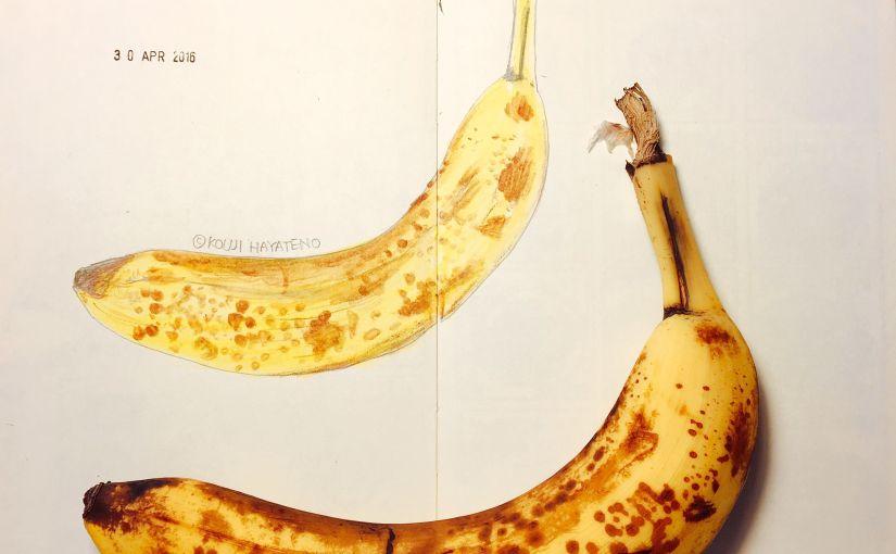 グルメイラスト いい香りのバナナをオレンズでスケッチ #モレスキン #オレンズ