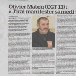 Interview de Olivier Mateu (CGT 13) : «J'irai manifester samedi»