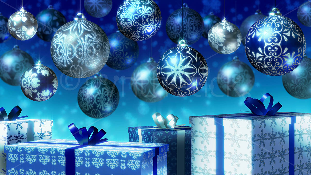 Merry Xmas 3d Wallpaper Christmas Balls Gifts Blue Stock Video Footage