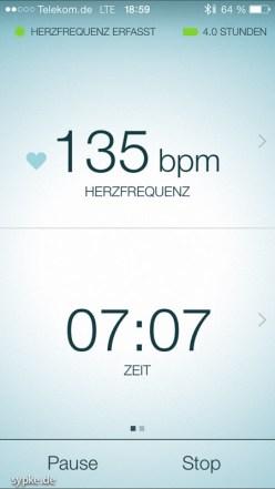 iOS Screenshot aus der Sport Life App.. Was mit 135 BPM beginnt...