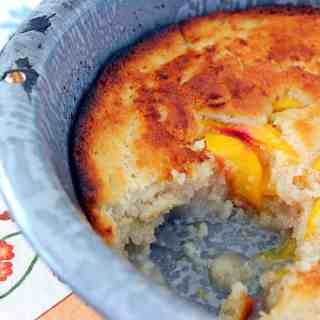 Peach Cobbler. An iconic Southern desert made from a peach filling with a biscuit-like topping.