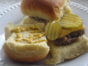 Copycat Krystal burgers. Homemade hamburgers that taste just like Krystal burgers.