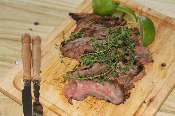crepe myrtle, belle, lime and thyme marinated steak 039