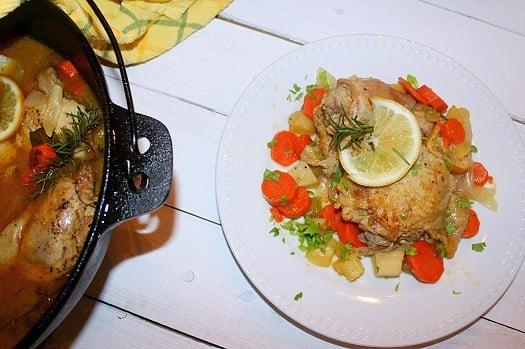Braised Lemon Rosemary Chicken Thighs