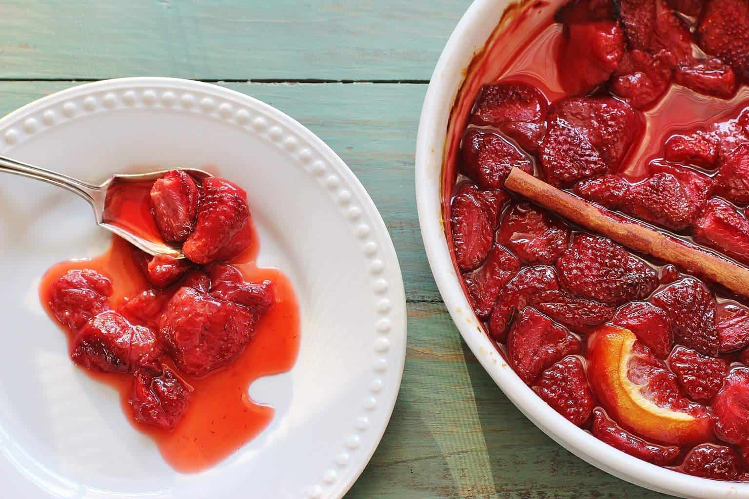 Roasted strawberries make a beautiful strawberry syrup.
