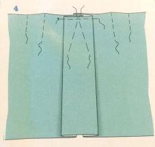 Det første man gjør er å lage en fold som er midt på skjørtet - du kan velge hvor dyp (bred) den skal være ; min er ca 14 cm totalt