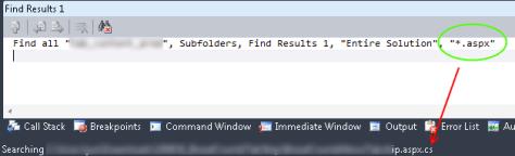 Visual Studio Serach Filter Fail