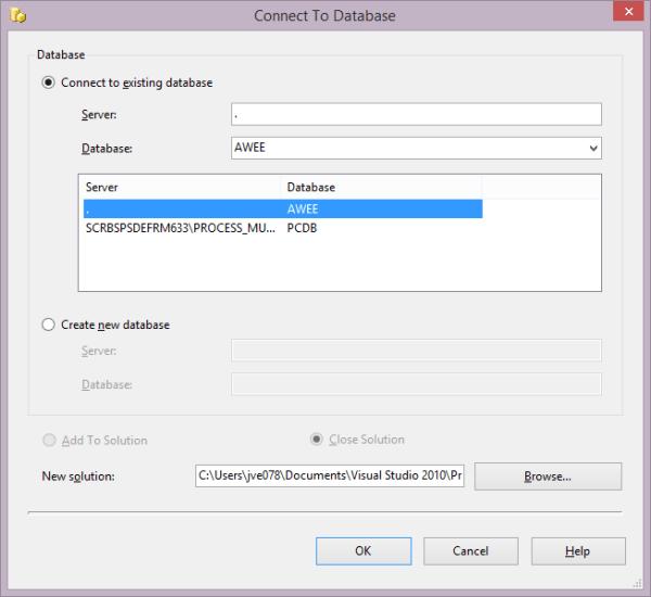 Choose Server/Database
