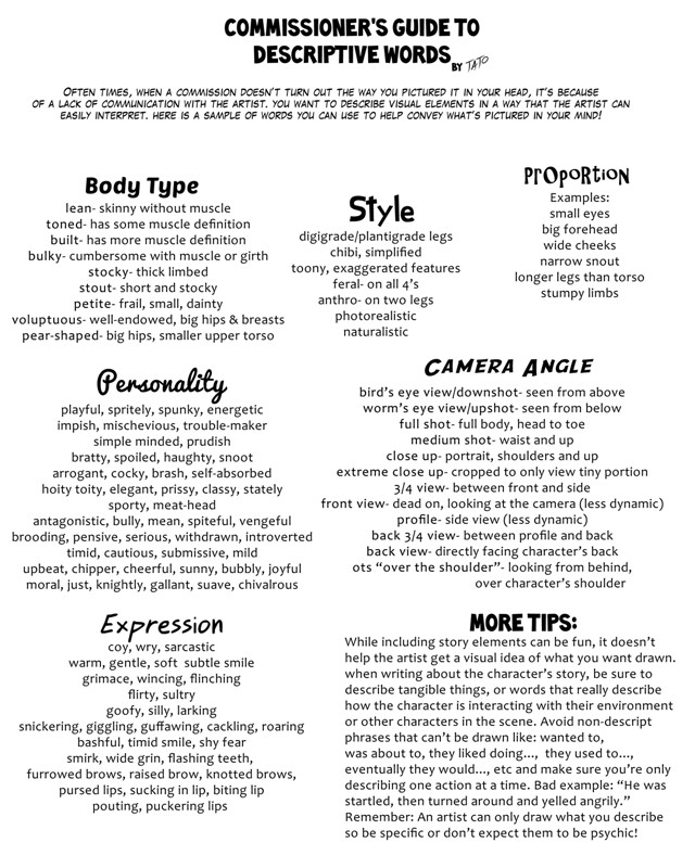 Commissioner\u0027s Guide to Descriptive Words by tato -- Fur Affinity