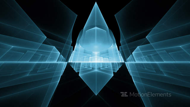 Dynamic Blue Cubes In Perspective On Black Background Stock