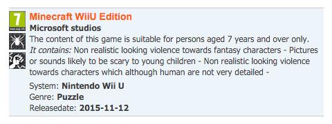 PEGI - Minecraft WiiU Edition