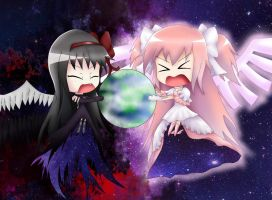 Anime Moon Wallpaper Ultimate Madoka And Devil Homura Chibi Ver By D Tomoyo On