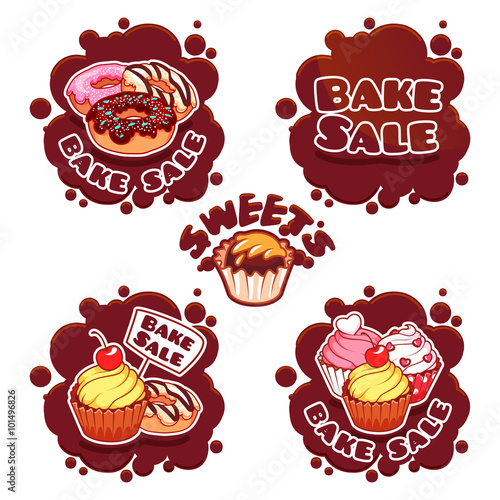 Set of labels for bake sale in the form of chocolate spots Buy