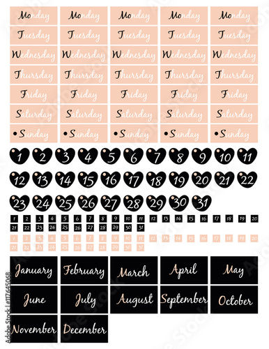 Planner calendar,months,days and numbersFor the creation of wall