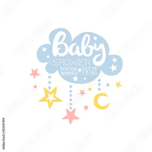 Cloud And Stars Baby Shower Invitation Design Template Buy Photos