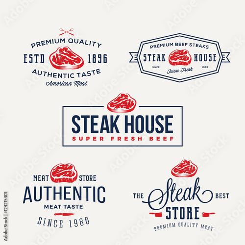 Steak House or Meat Store Vintage Typography Labels, Emblems, Logo