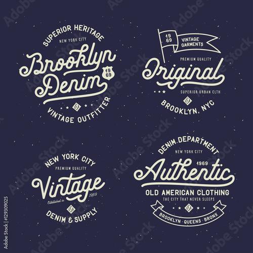 Denim typography t-shirt design set Vector vintage illustration
