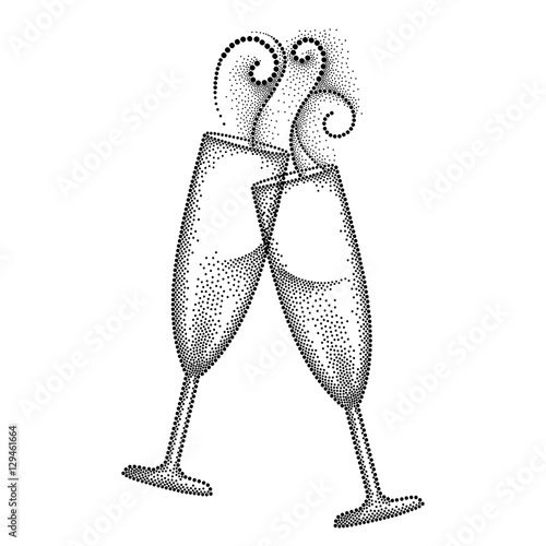 Vector illustration with two dotted clink champagne glass or flute