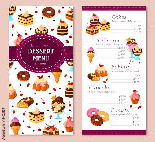 Vector menu template for bakery desserts cakes Buy Photos AP