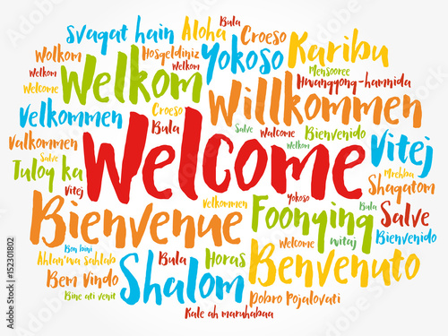 WELCOME word cloud in different languages, concept background Buy