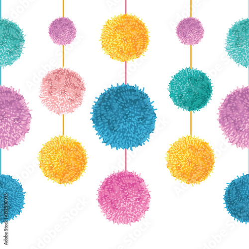 Vector Colorful Birthday Party Pom Poms On Strings Set Horizontal