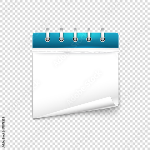 Paper diary on transparent background vector mockup Template for a