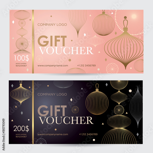 Christmas gift voucher with geometric gold decor Festive gift