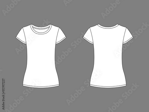 Female t-shirt templates White t-shirts, isolated on background