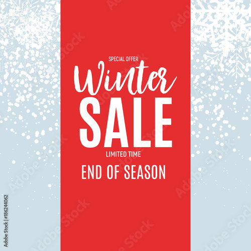 End of Winter Sale Background, Discount Coupon Template Vector
