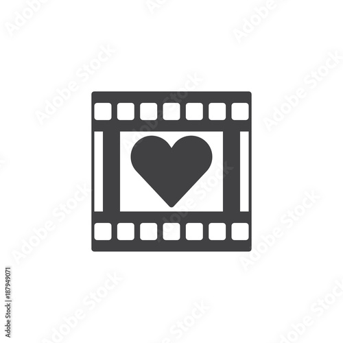 Film reel with heart frame icon vector, filled flat sign, solid