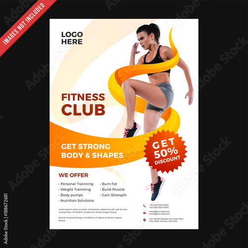 Fitness Club Flyer amp; Poster Cover Template Buy Photos AP
