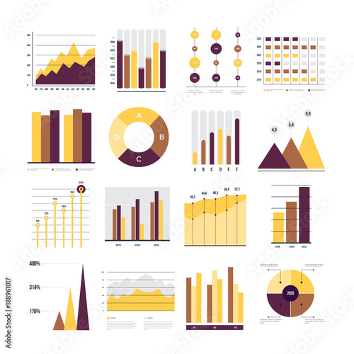 Set of financial and marketing charts Round and with percentages