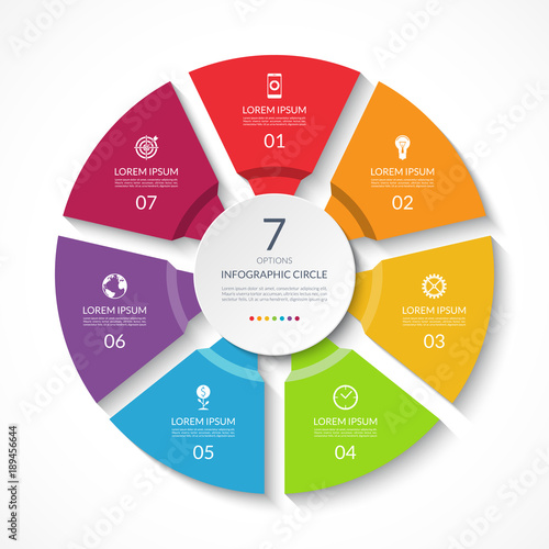 Infographic circle Process chart Vector diagram with 7 options