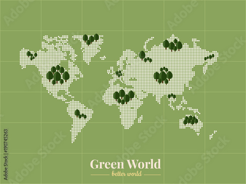 Green World to a Better World Bitmap of world and green areas