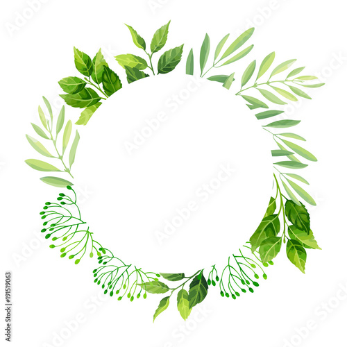 Green leaves frame template Vector illustration Buy Photos AP